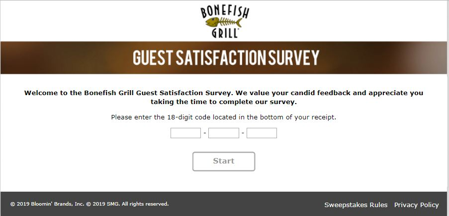 Bonefish Grill Survey