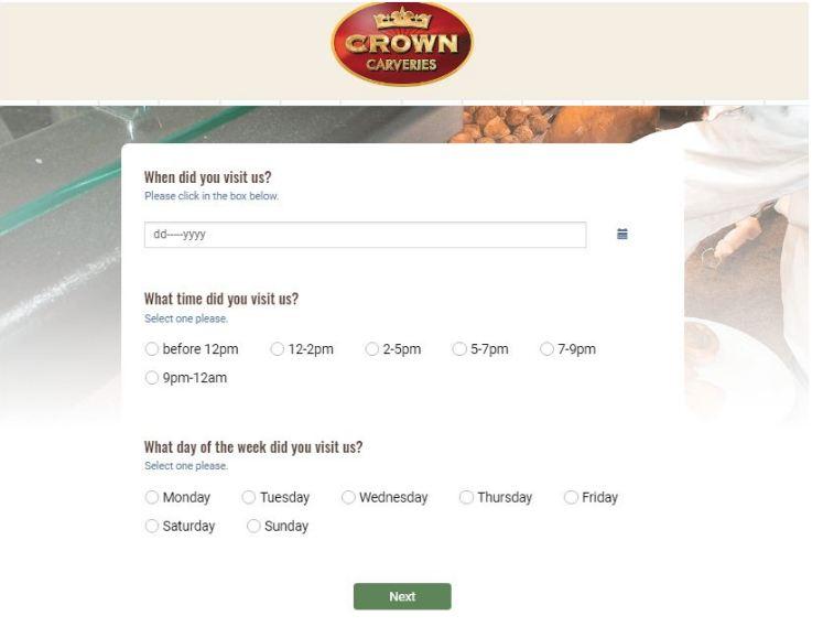 Crown Carveries Feedback Survey
