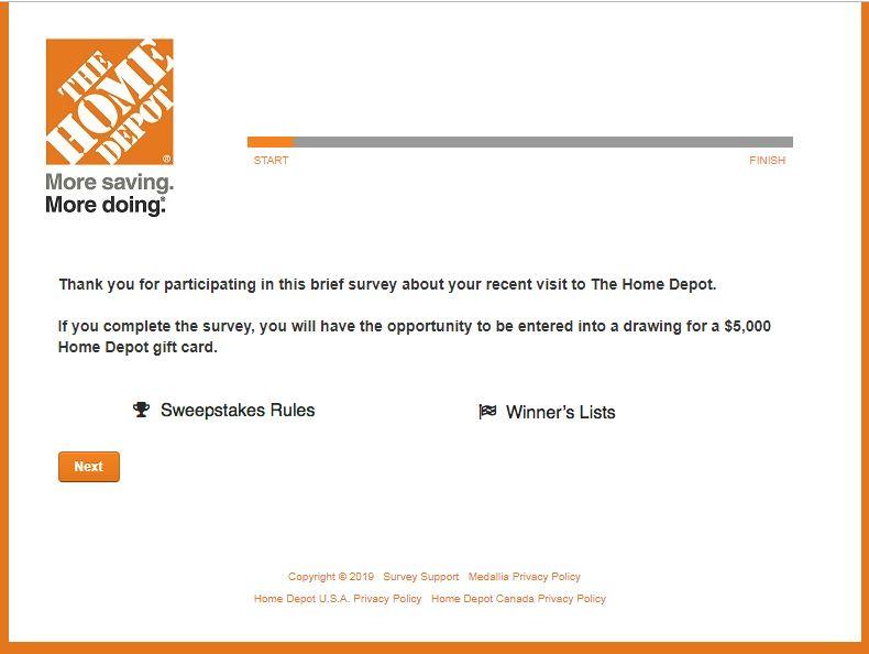 Home Depot Customer Service Survey