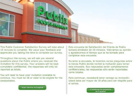publix feedback survey
