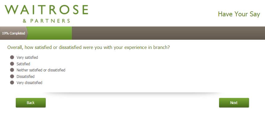 Waitrose Customer Satisfaction Survey