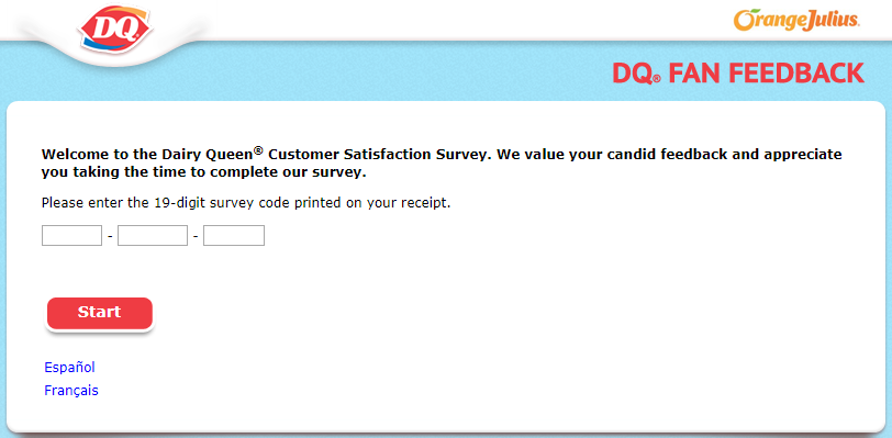 DQ fan survey homepage