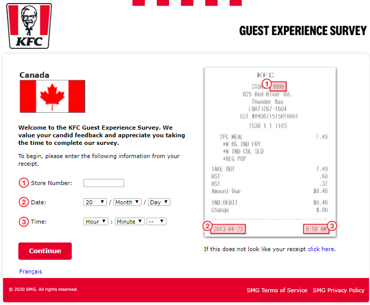 KFC survey canada homepage