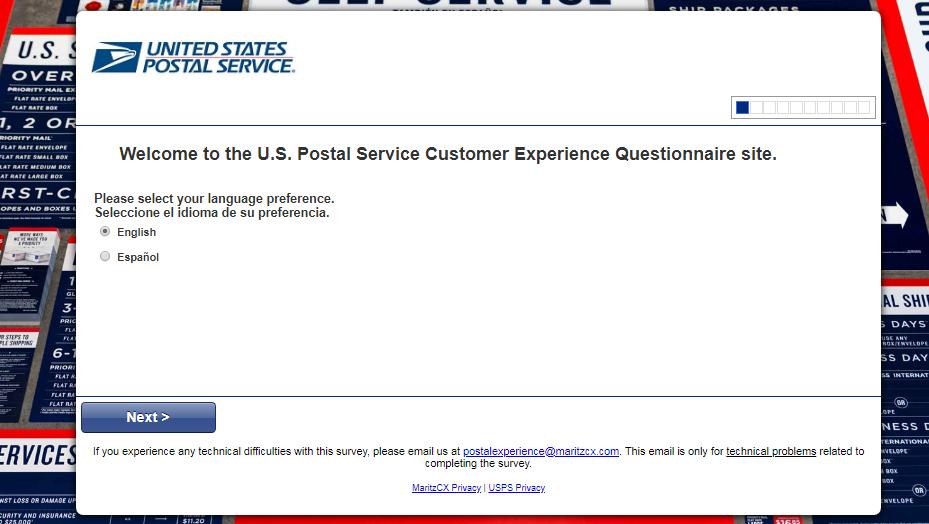 USPS survey homepage