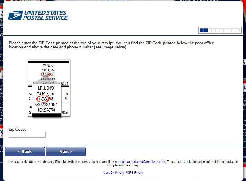 USPS survey step2