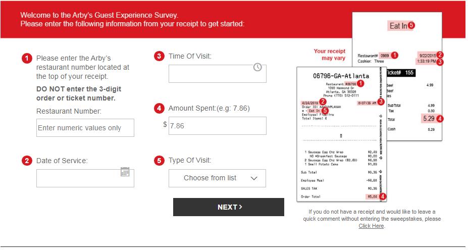 Arby's customer reviews survey