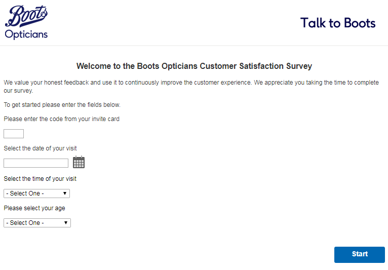 boots opticians survey homepage