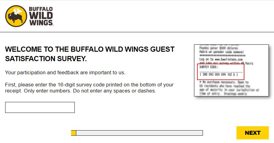 buffalo wild wings survey homepage