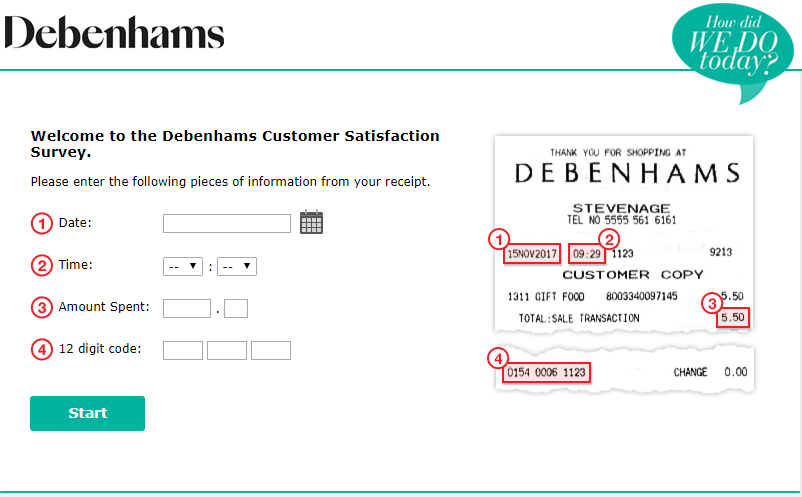Debenhams Customer Survey