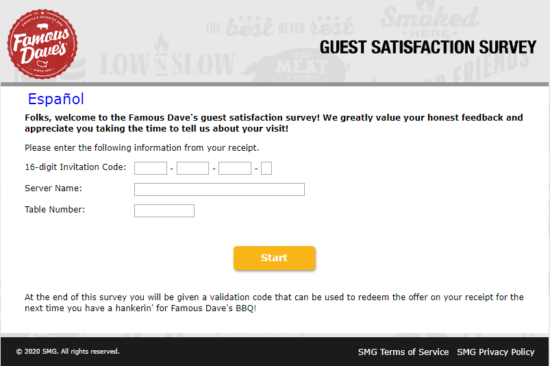 famous daves survey homepage