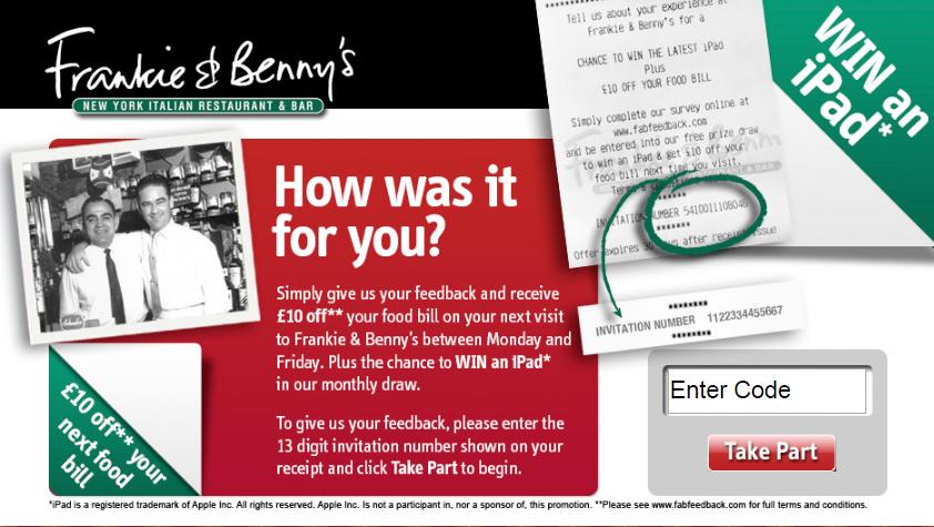 frankie & bennys survey step1