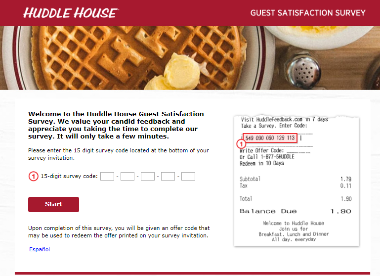 huddle house survey homepage