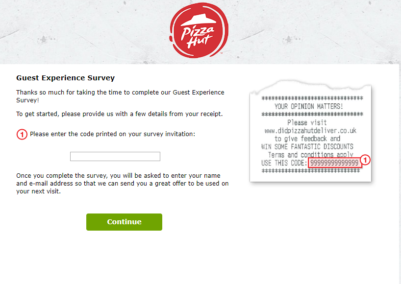 pizza hut delivery survey homepage