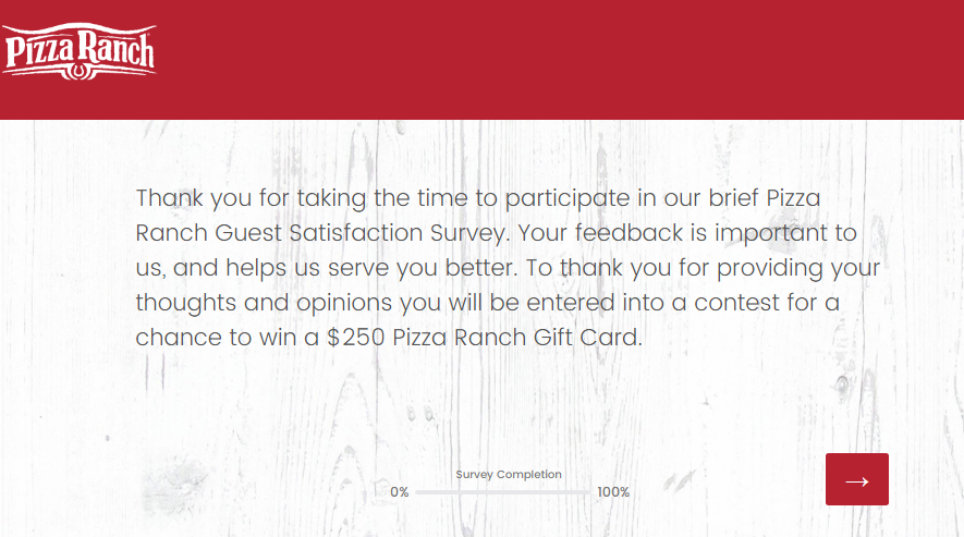 Pizza Ranch Survey Homepage