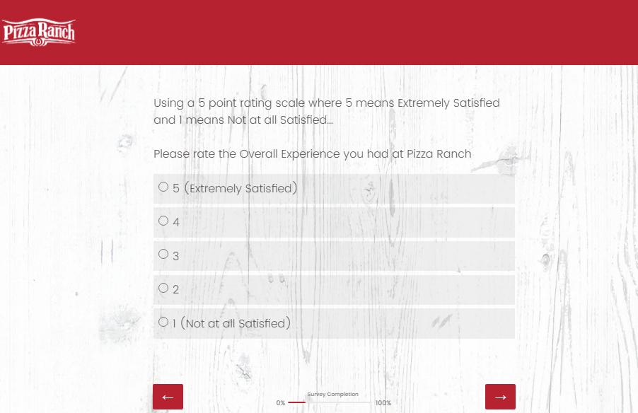 Pizza Ranch Guest Feedback Survey