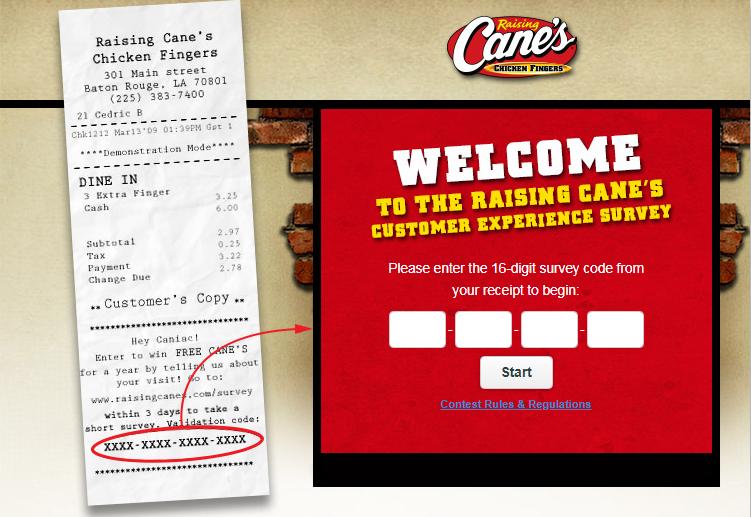 Raising Cane's Guest Feedback Survey