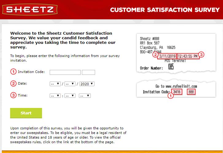 sheetz survey homepage