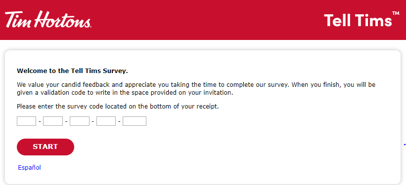 tim hortons survey homepage