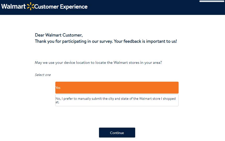 Walmart Customer Opinion Survey