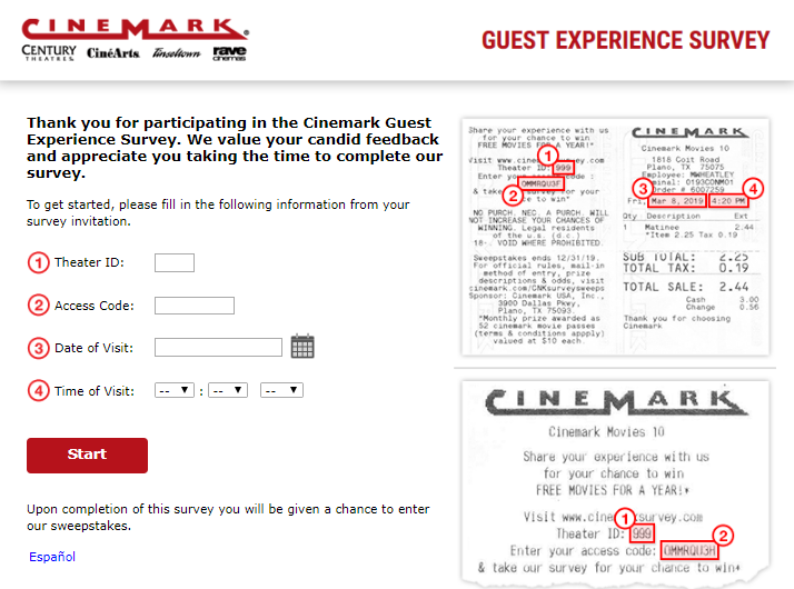 cinemark survey homepage