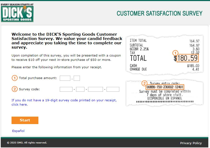 Dicks sporting Goods Survey Homepage