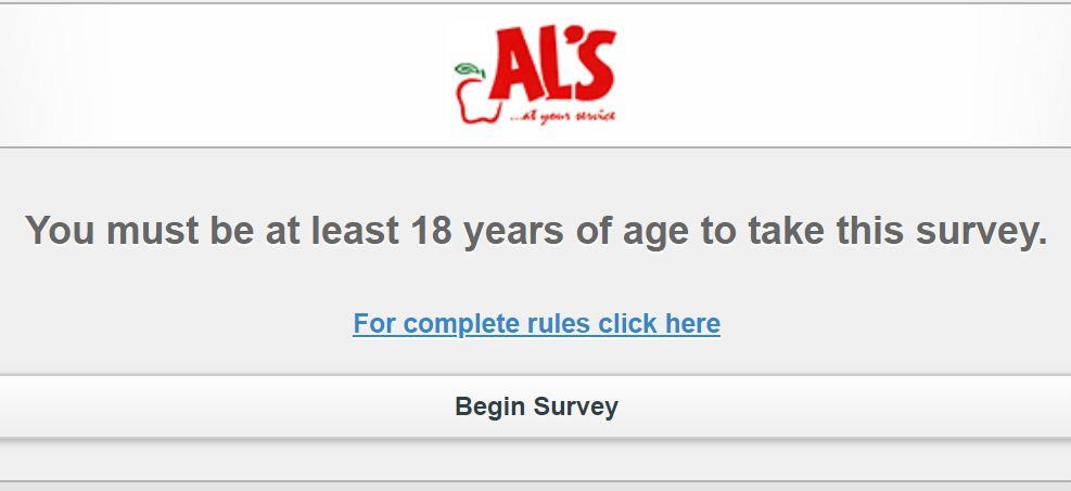 www.AlsFeedback.comSurvey