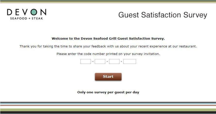 Devon Seafood Grill Survey Homepage