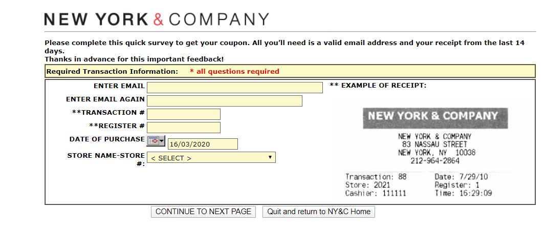 New York & Company Guest Opinion Survey