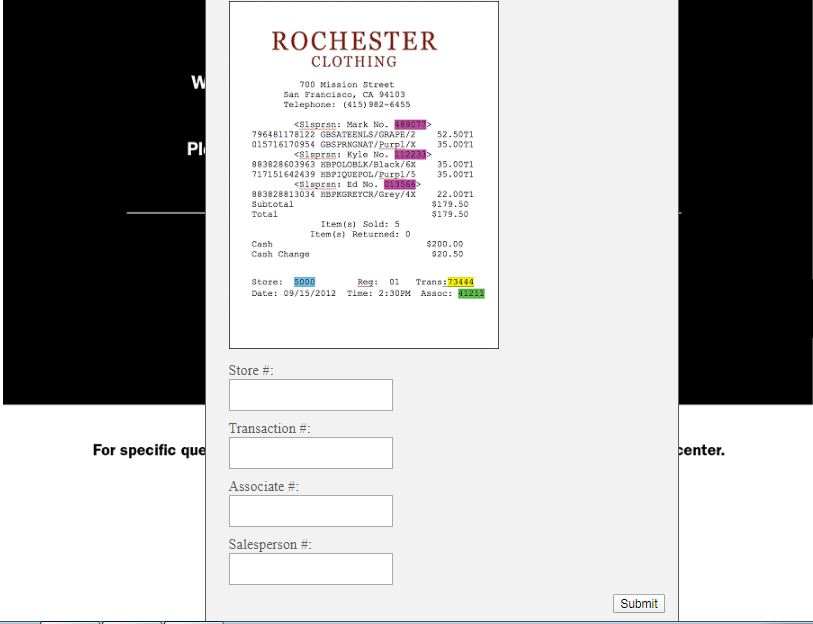 Rochester Big & Tall Guest Opinion Survey