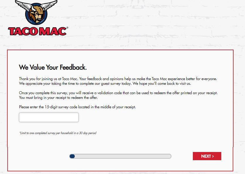 Taco Mac Survey Homepage