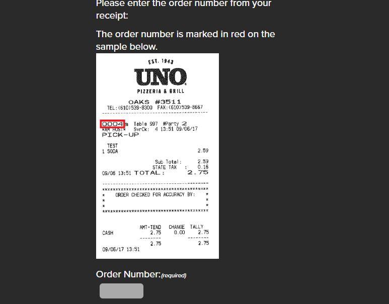 Uno Pizzeria Opinion Survey