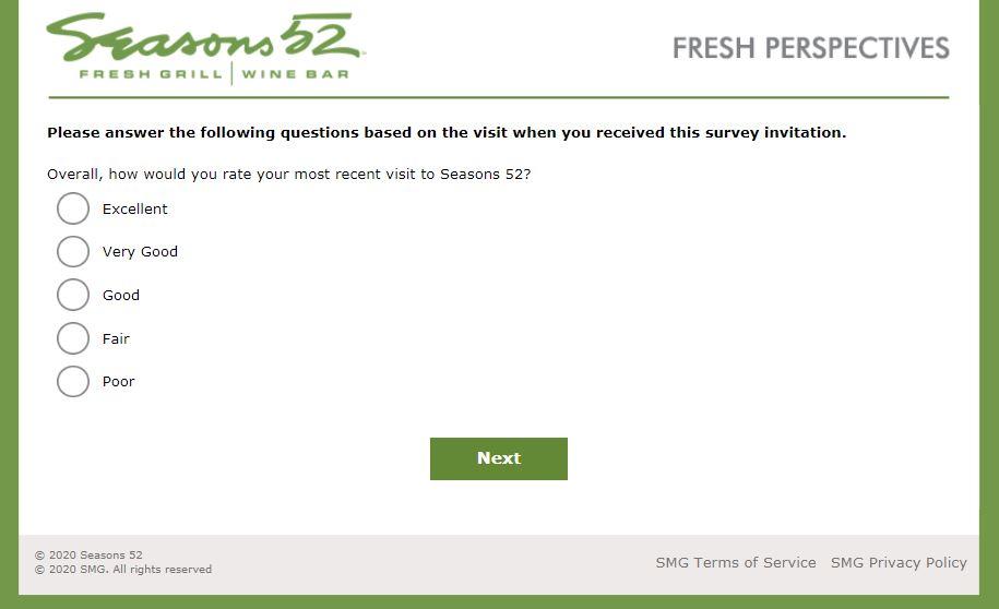 Seasons 52 Opinion Survey