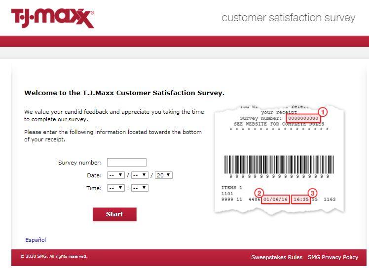 TJ Maxx survey step1