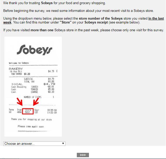 Sobeys Guest Satisfaction Survey