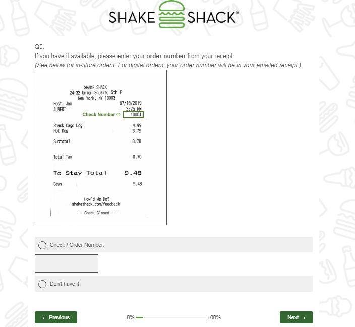 Shake ShackOnline Survey