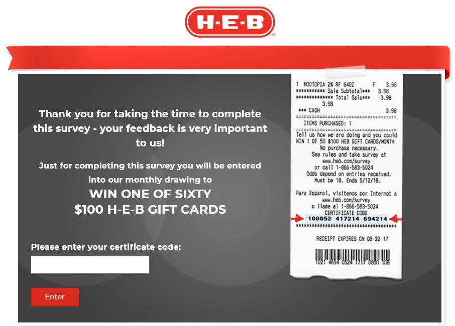 HEB Customer Feedback Survey